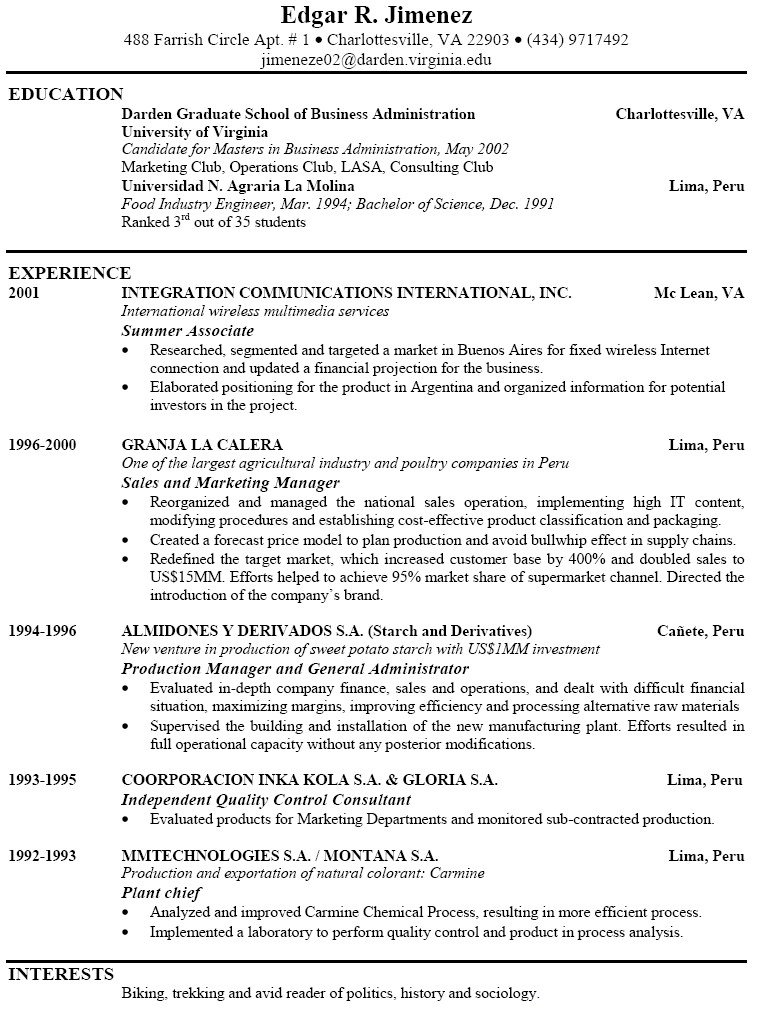simple format resume