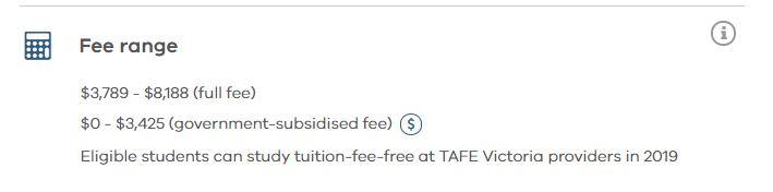 tafe course fee