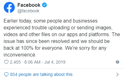facebook post about issue fixed